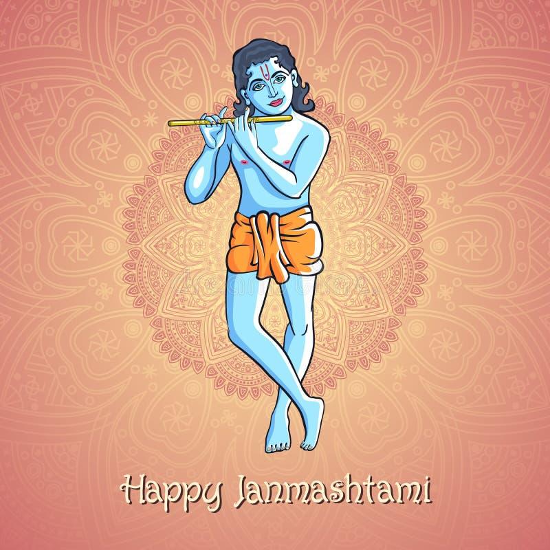 Krishna que toca la flauta Vector el ejemplo para el festival indio de la celebración del janamashtmi contra la perspectiva del m stock de ilustración