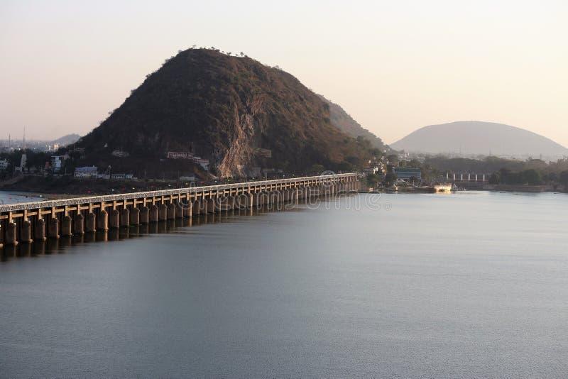 Krishna River Barrage en Vijayawada en la India imagen de archivo