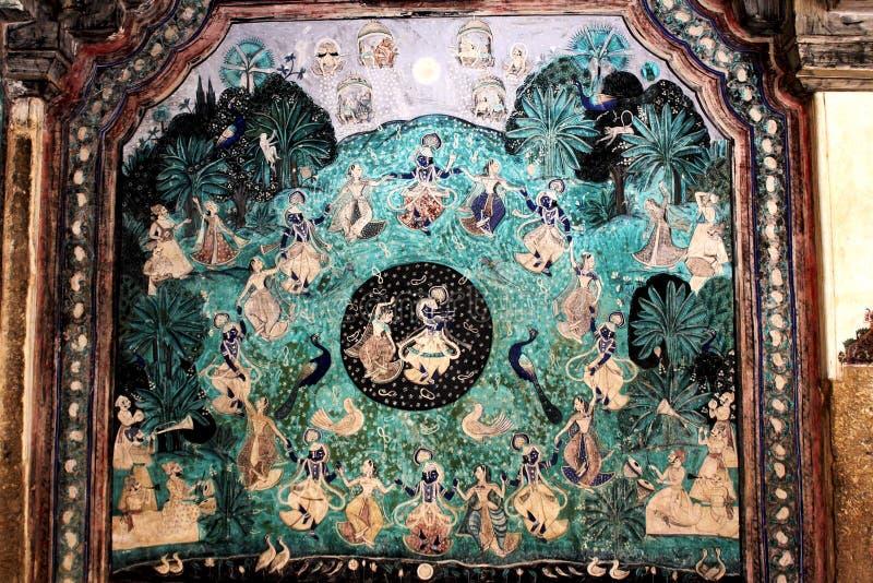Krishna ` s Rasa - Chitrasala - Bundi - Rajasthan arkivfoton