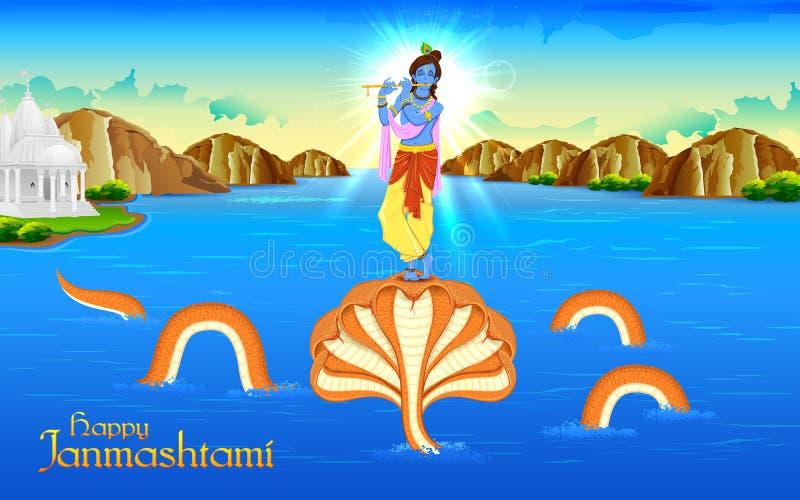 Krishna taniec na Kaliya Naag ilustracji
