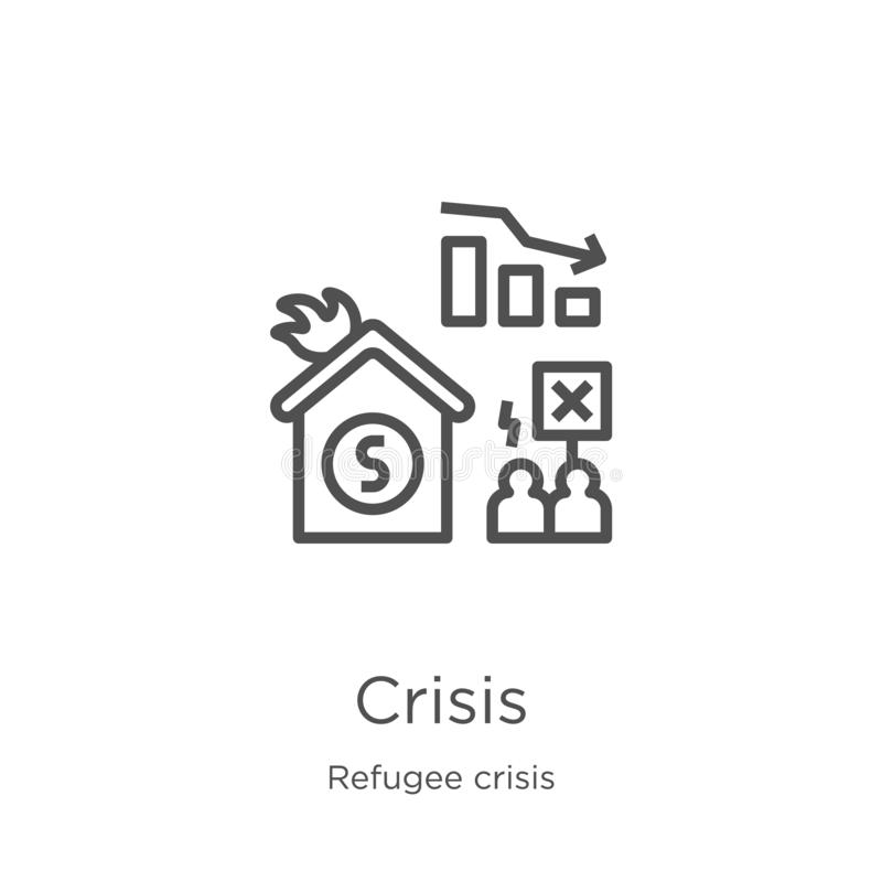 krissymbolsvektor från flyktingkrissamling Tunn linje illustration för vektor för krisöversiktssymbol Översikt tunn linje kris stock illustrationer