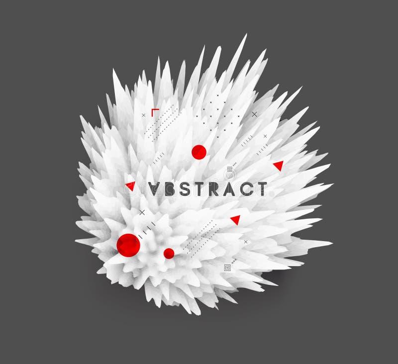 Kristal, mineraal of steen Stekelig gebied voor ontwerpproject Bloemenart. Achtergrond met exploderende stralen Abstracte vector royalty-vrije illustratie