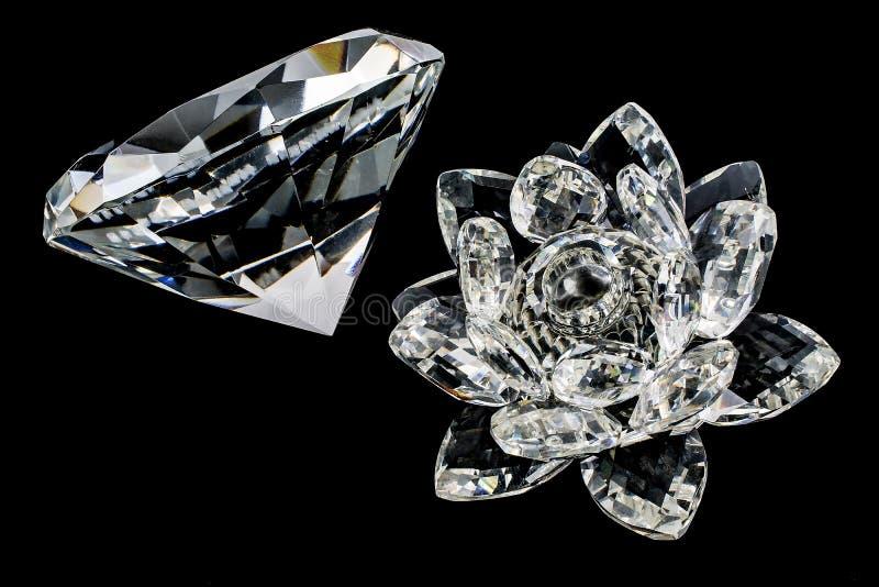 Kristal van bloem en diamant royalty-vrije stock foto's