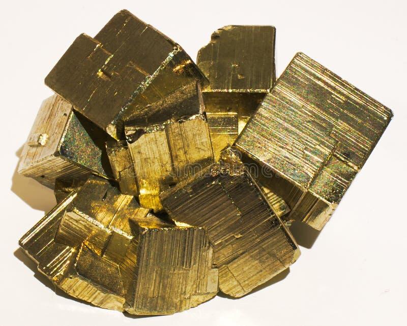 Kristal van de pyriet het minerale steen stock afbeeldingen