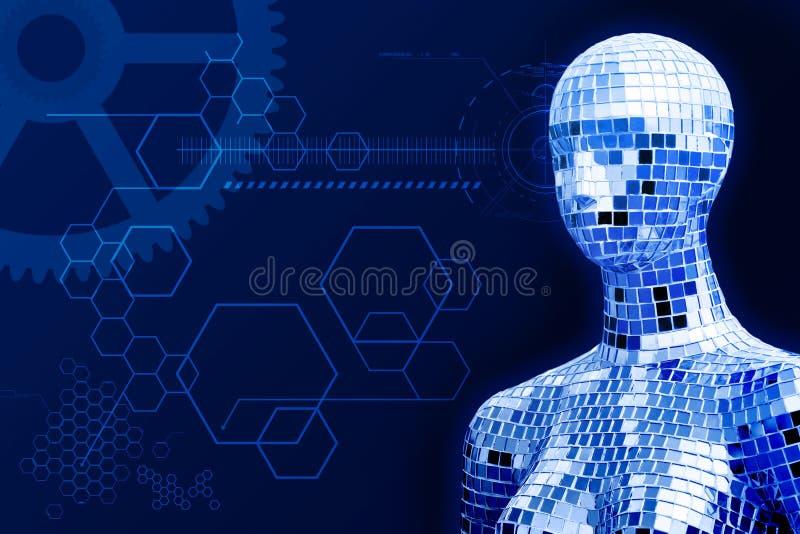 Kristaldame in technologieinnovatie stock afbeeldingen