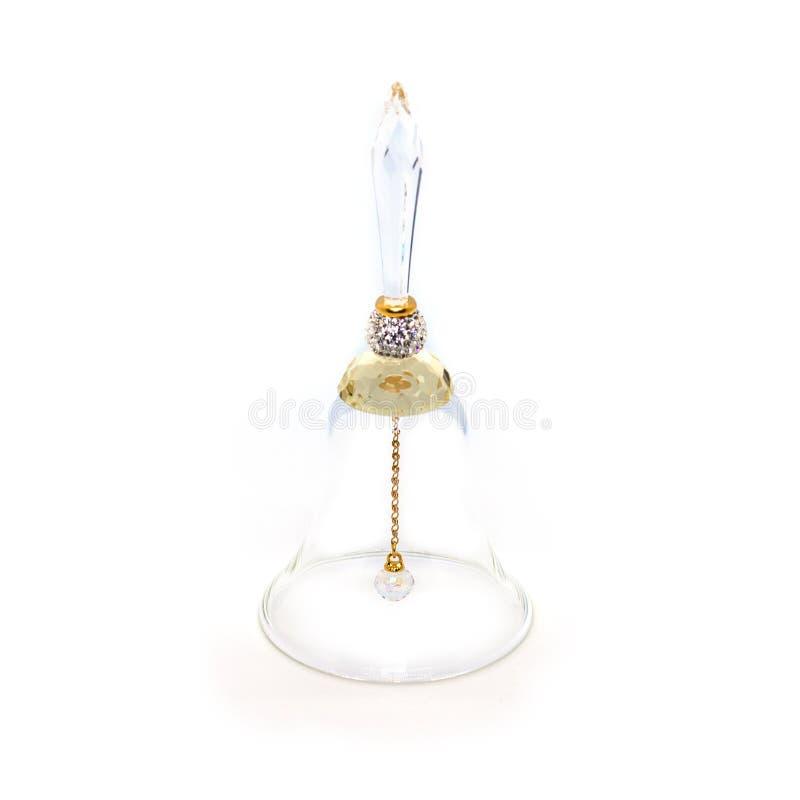 Kristalklok op een witte achtergrond Boheems Glas Herinnering van Praag stock foto