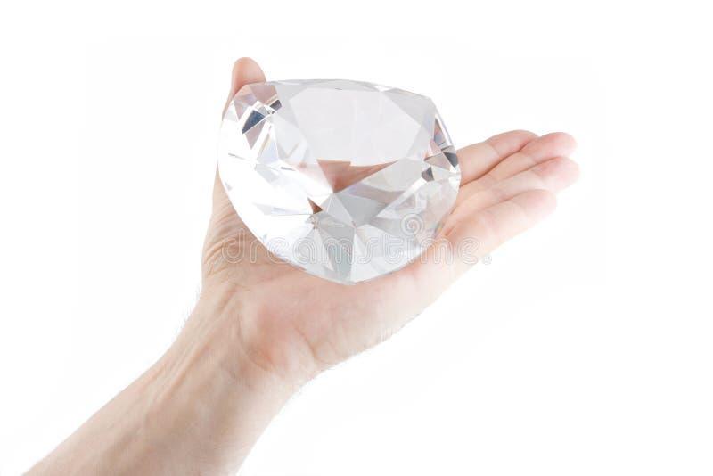 Kristall auf die geöffnete Palme stockfotos
