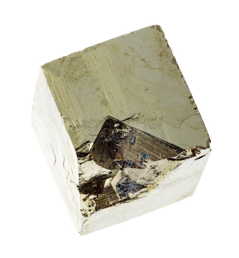 kristall av järnpyrit (svavelpyrit) på vitt arkivbilder