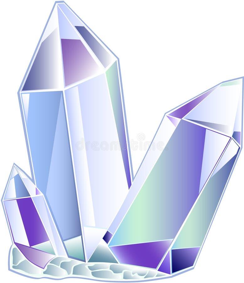 Kristall des Quarzes drei stock abbildung
