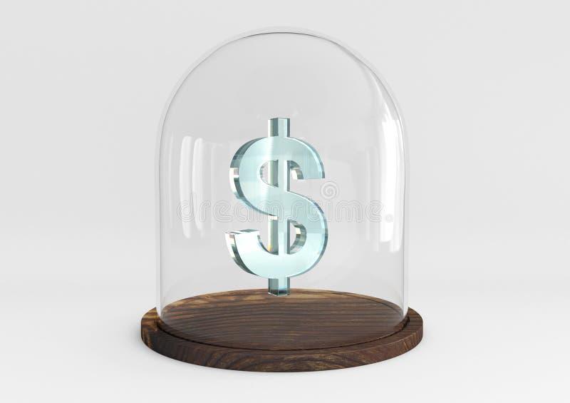 kristall för tecken för dollar som 3D skyddas under en glass kupol arkivfoto