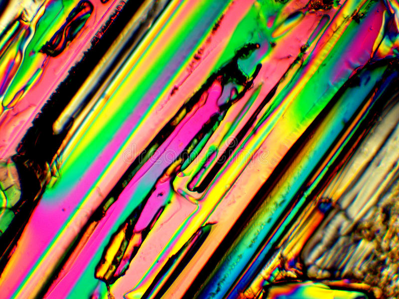 Kristall in polarisiertem Licht stockbild