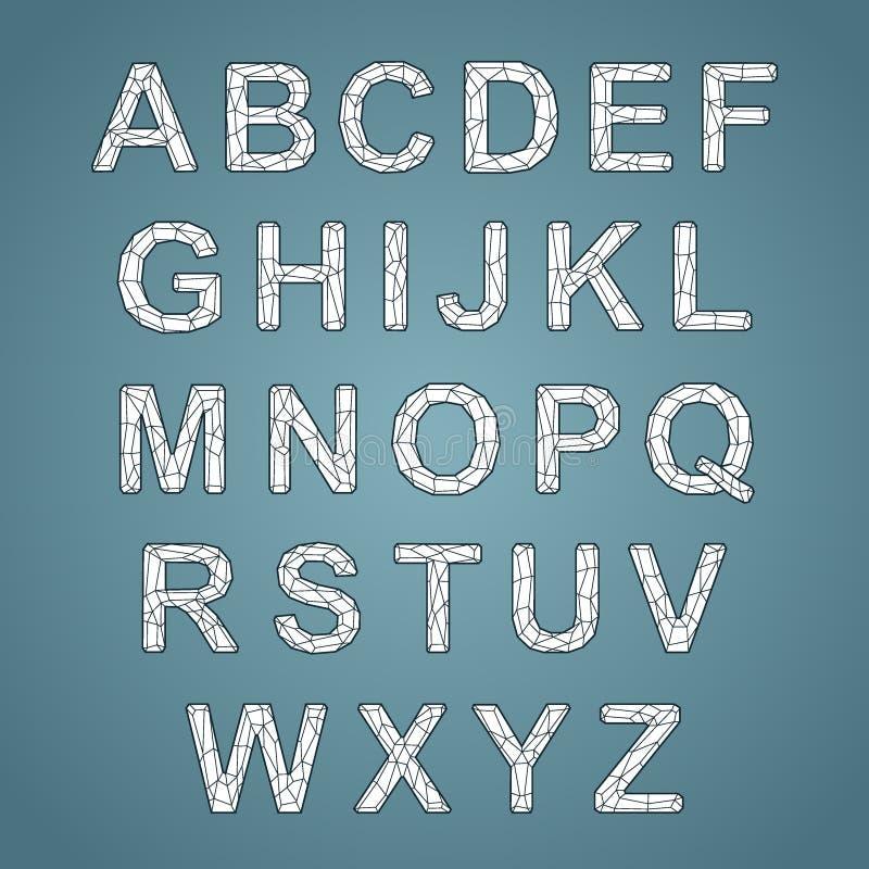 Kristallbeschaffenheitsguß Vektoralphabet mit lateinischen Buchstaben Mosaik-Guss stock abbildung