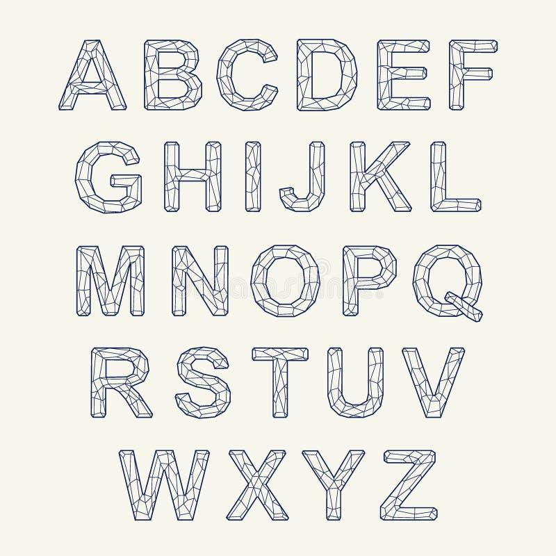 Kristallbeschaffenheitsguß Vektoralphabet mit lateinischen Buchstaben Mosaik-Guss lizenzfreie abbildung