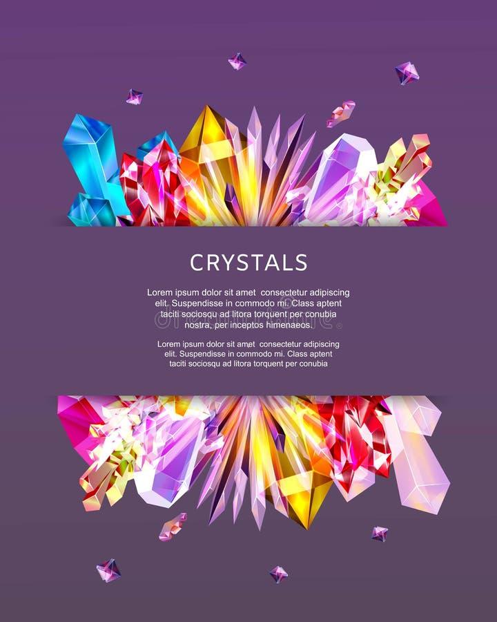 Kristalledelsteine und geometrische Formen der Pyramide auf modischem Vektorplakat des violetten Hintergrundes Fahne mit geometri lizenzfreie abbildung