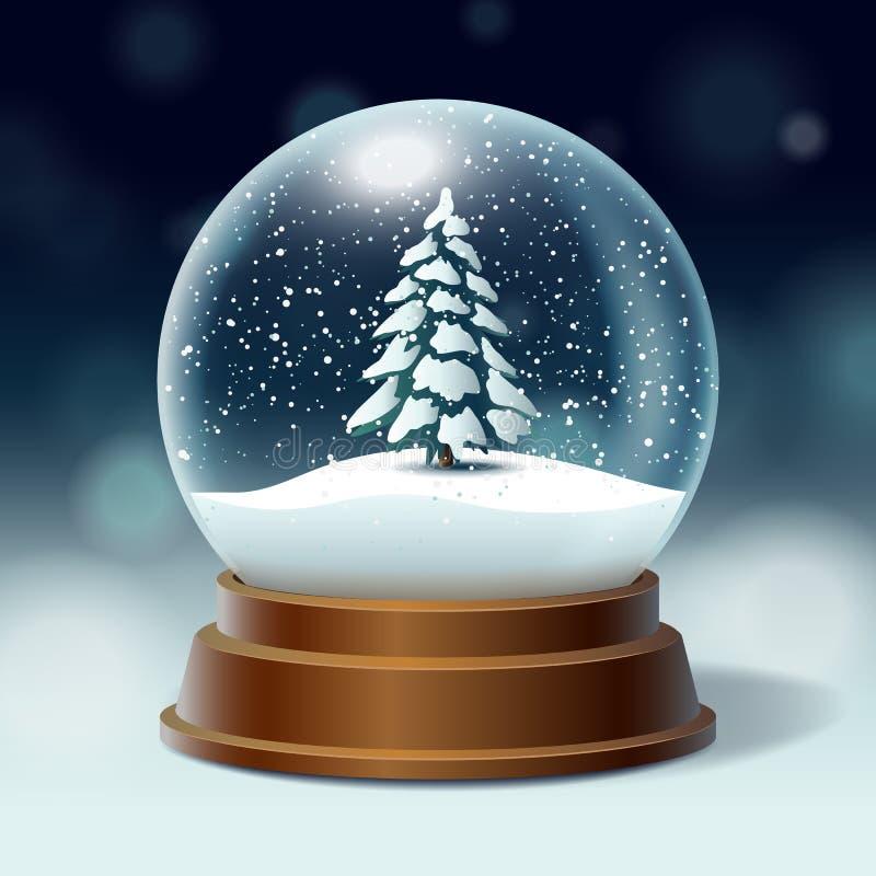 Kristallen bol met sneeuw binnen Kerstboom, sparren vector illustratie