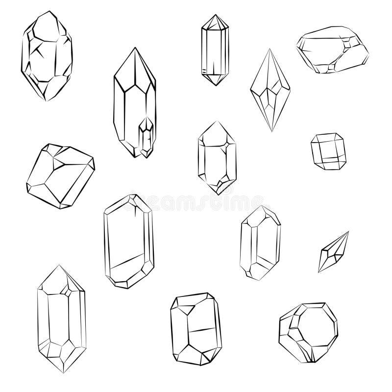 Kristallen en diamanten stock illustratie