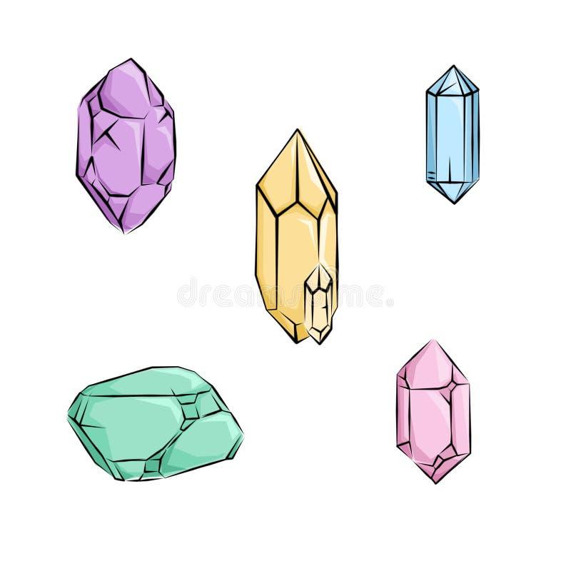 Kristallen en diamanten vector illustratie