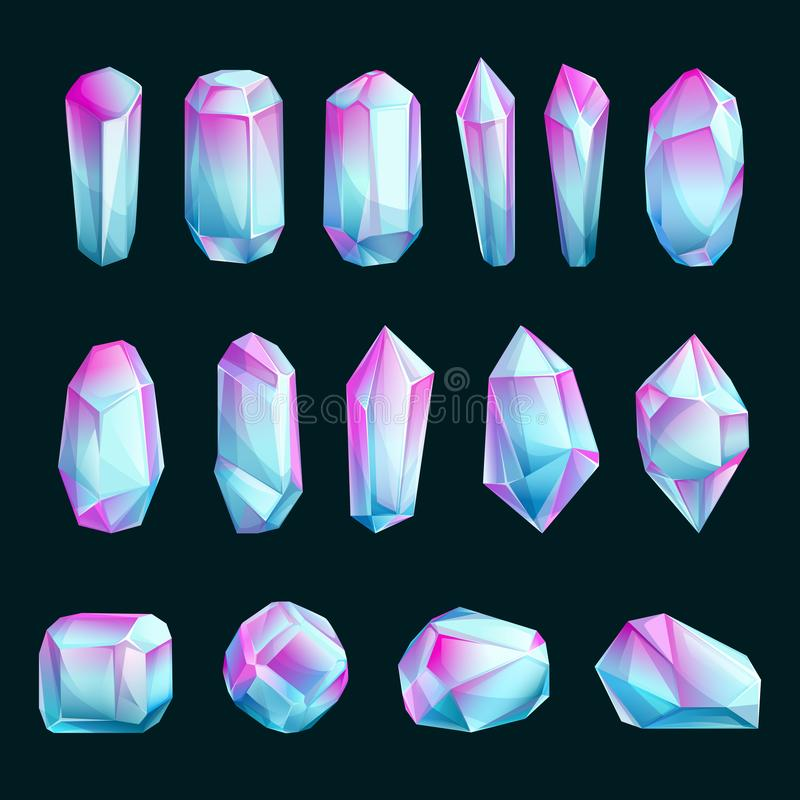 Kristallen en mineralen, vectorbeeldverhaalillustratie Reeks abstracte ruwe halfedelstenen De heldere elementen van het gemmenont royalty-vrije illustratie