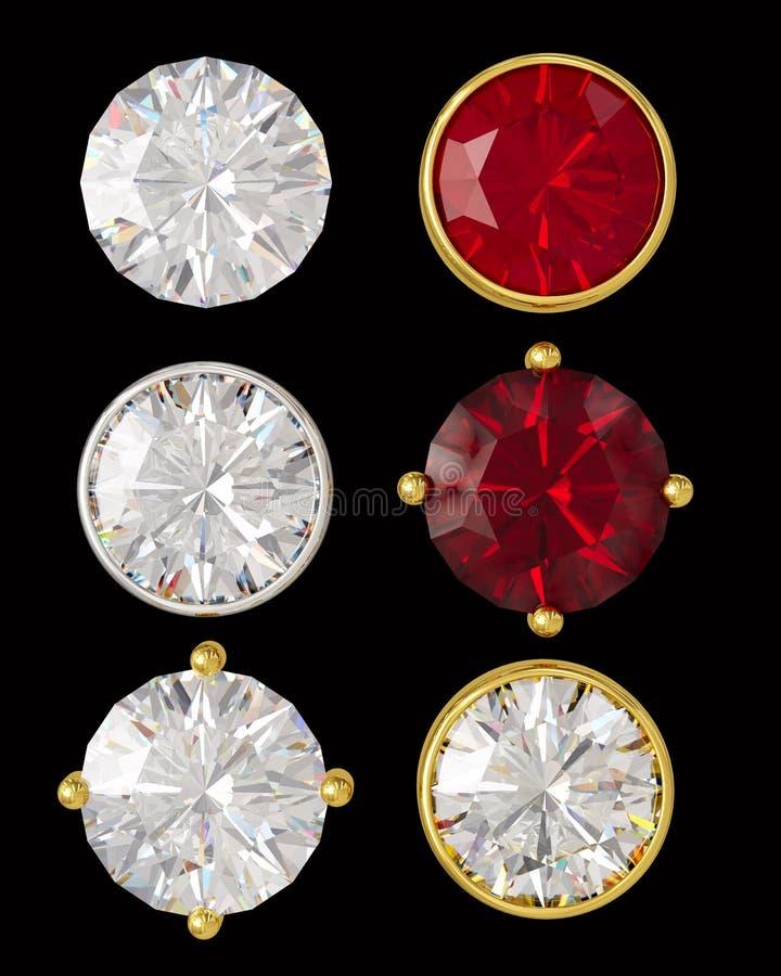 Kristallen in goud en zilver royalty-vrije illustratie
