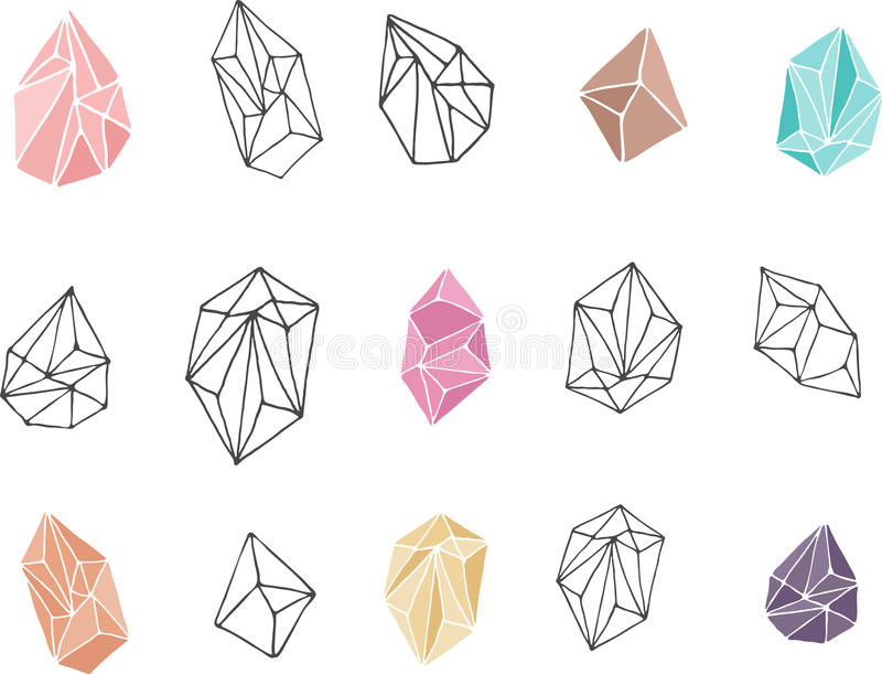 Kristallen - hand getrokken elementen stock illustratie