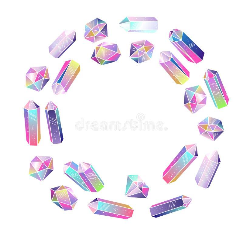 Kristallen om kader geïsoleerde vector royalty-vrije illustratie