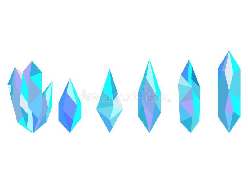 Kristallen op witte achtergrond worden geïsoleerd die Mineralen, ontwerpelementen Vector stock illustratie