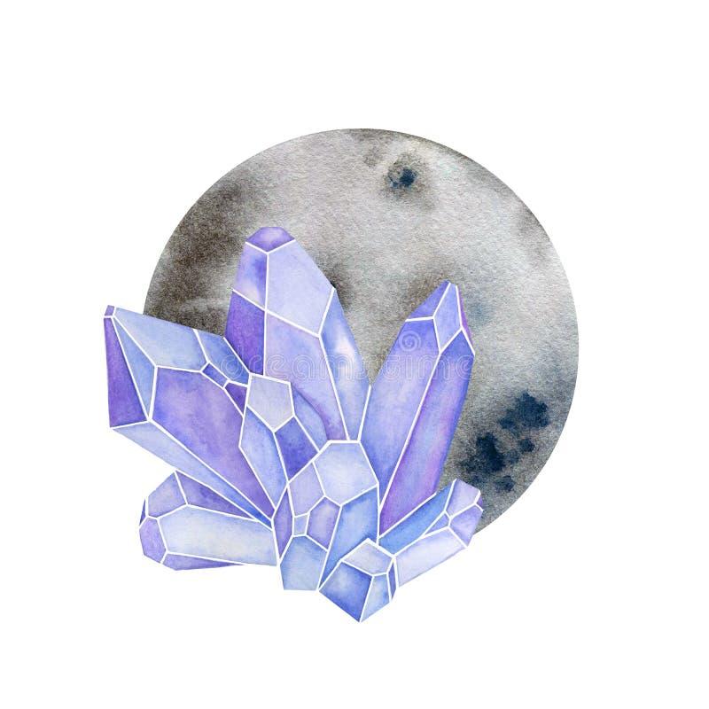 Kristaller med cirkelform Måne med ädelstenar i vattenfärgdesign vektor illustrationer