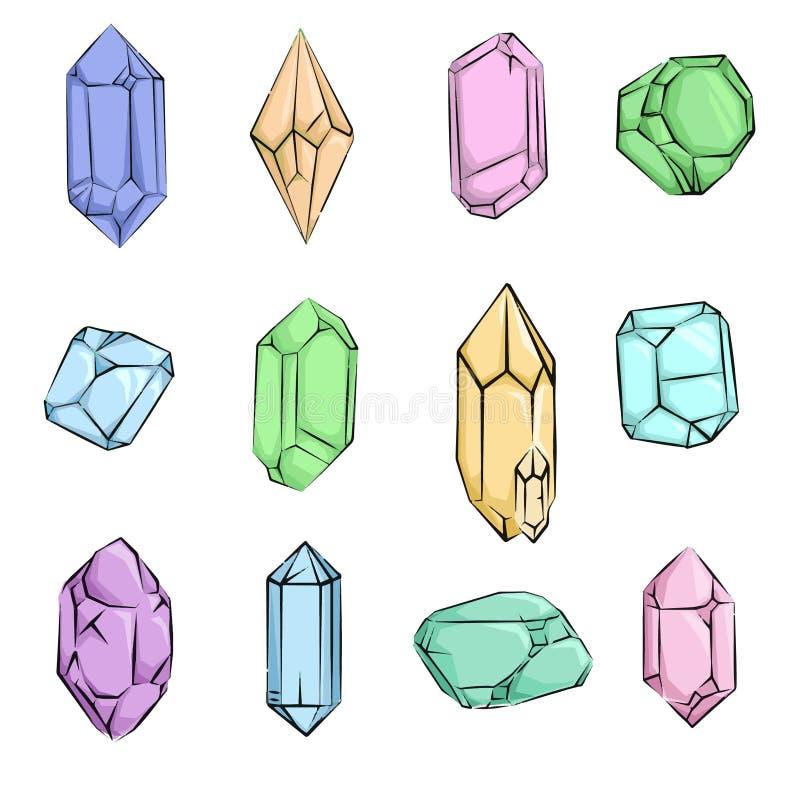 Kristaller och dragen diamanthand vektor illustrationer
