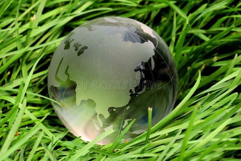 Kristallglobales auf Gras lizenzfreies stockbild