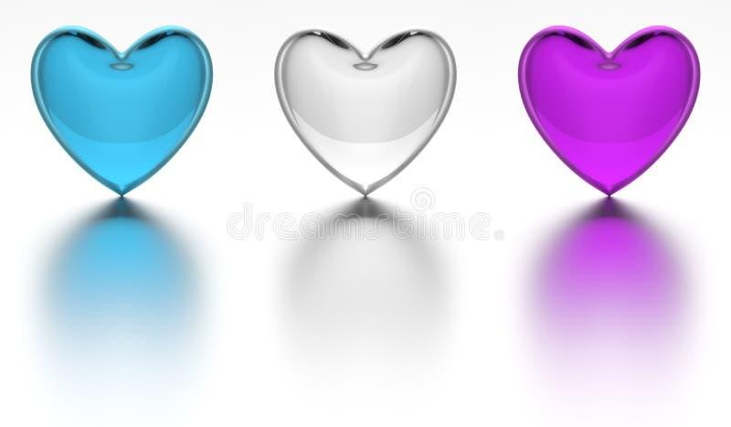 Kristallherz farbiges Glasherz lokalisiert lizenzfreie abbildung