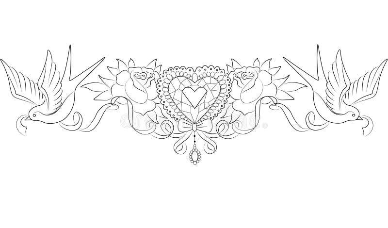 Kristallherz mit Rosen und Schwalben vektor abbildung