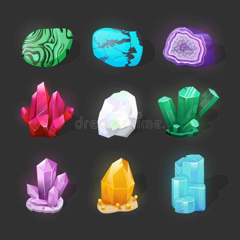 Kristallijne steen of gem Kostbare Halfedelsteen Magische kristallen en halfedelstenen vectorreeks Pictogrammen van spel de gloei stock illustratie