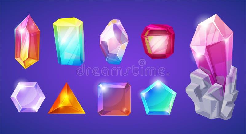 Kristallisk ädelsten för Crystal stenvektor och dyrbar gemstone för smyckenillustrationuppsättning av steniga juvel eller mineral stock illustrationer