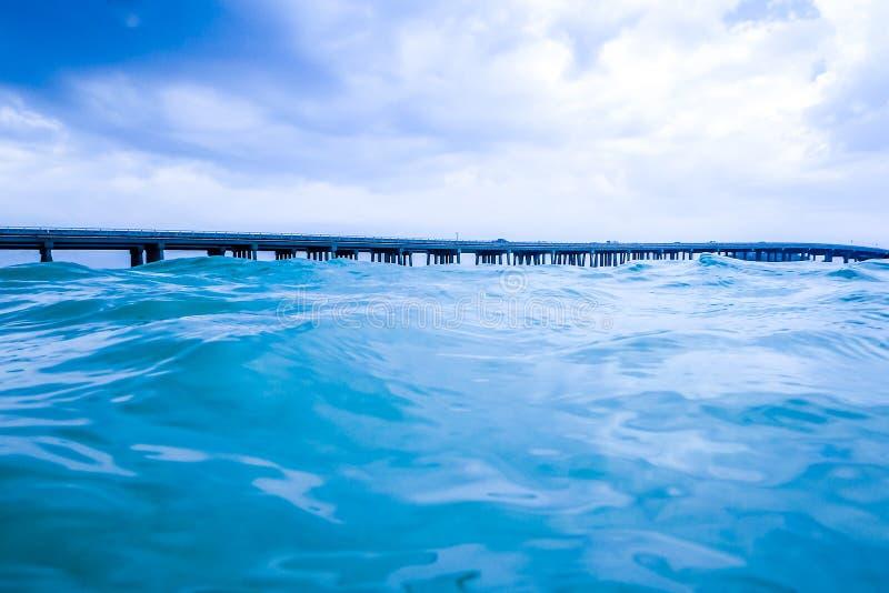 Kristallklart vatten av passerandet i semesterortstaden av Destin, Florida arkivbilder