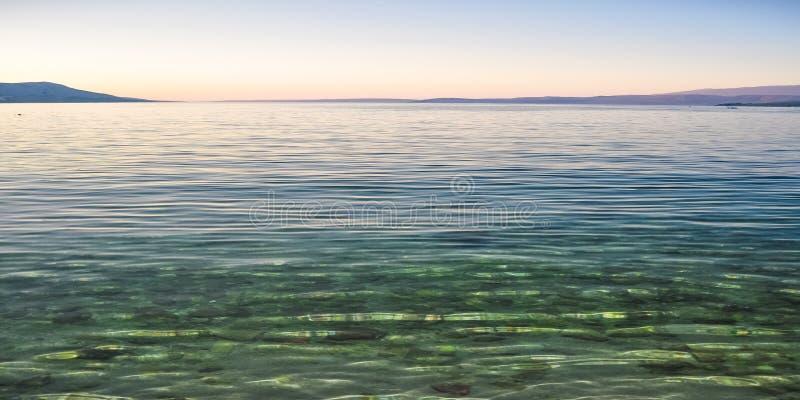 Kristallklart vatten i kusten av Adriatiskt havön Pag, Kroatien efter solnedgång royaltyfri bild