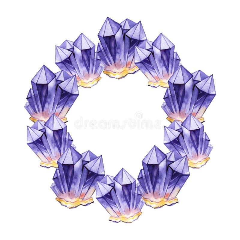 Kristallkranz des runden purpurroten Veilchens Dekoratives Bild einer Flugwesenschwalbe ein Blatt Papier in seinem Schnabel lizenzfreie abbildung