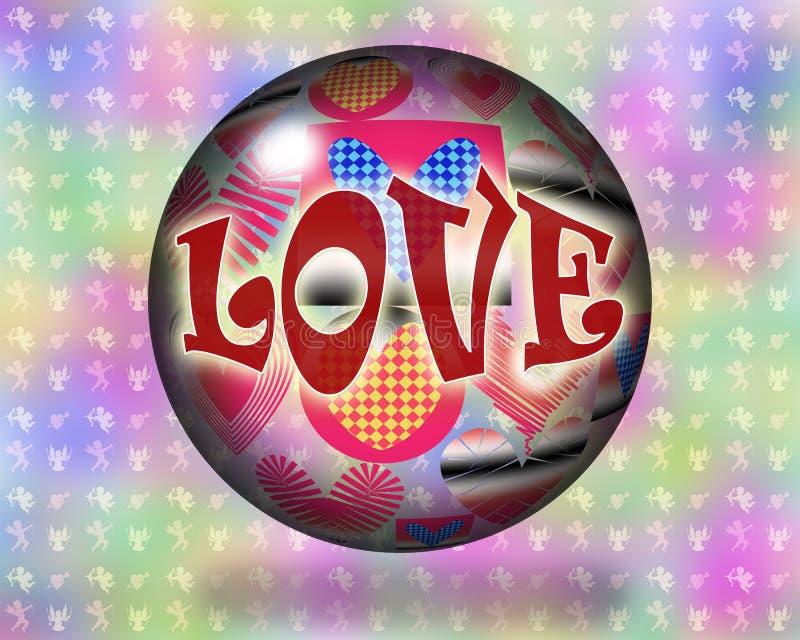 Kristallkula för förälskelsemakthipster stock illustrationer