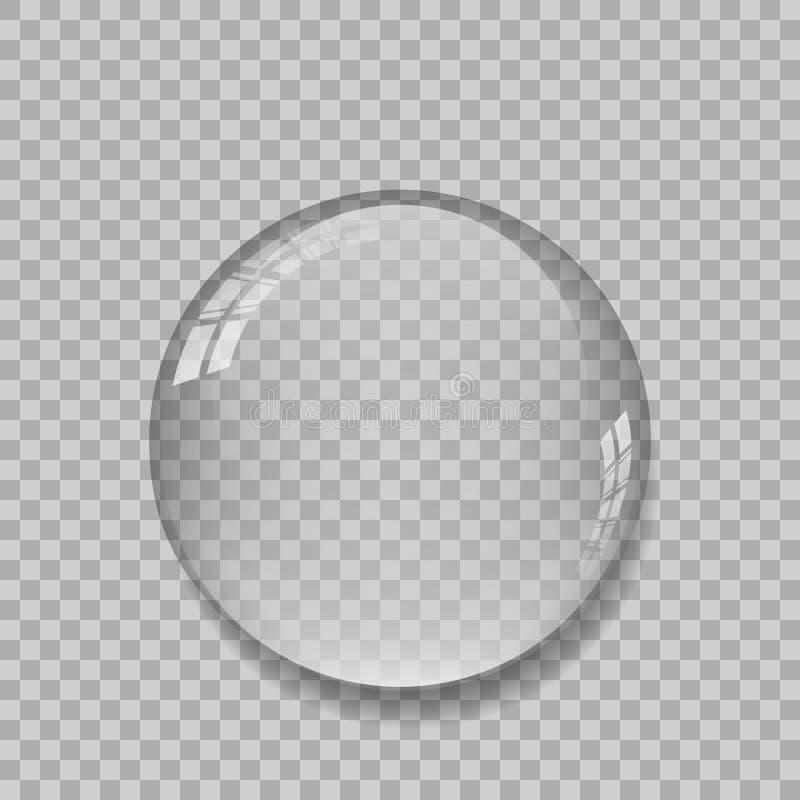 Kristallkula med reflexioner på genomskinlig bakgrund stock illustrationer