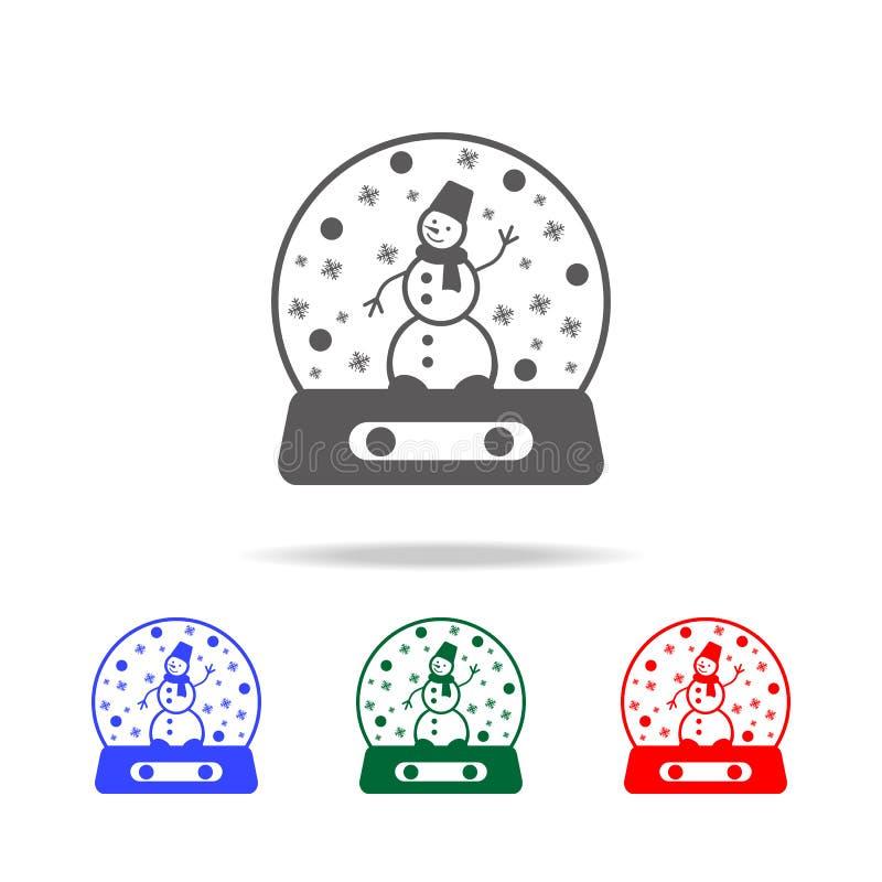kristallkula med snö och snögubbe inom symbol Beståndsdelar av julferier i mång- kulöra symboler Högvärdigt kvalitets- diagram royaltyfri illustrationer