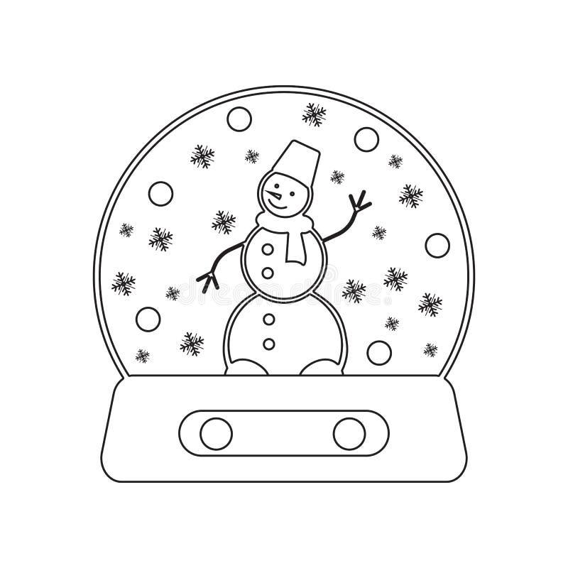 kristallkula med sn? och sn?gubbe inom symbol Best?ndsdel av vintern f?r mobilt begrepp och reng?ringsdukappssymbol ?versikt tunn stock illustrationer