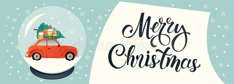 Kristallsnöjordklot på den svarta ställningen som isoleras på genomskinlig vektorbakgrund Röd bil med julträdet och gåvaaskar royaltyfri illustrationer