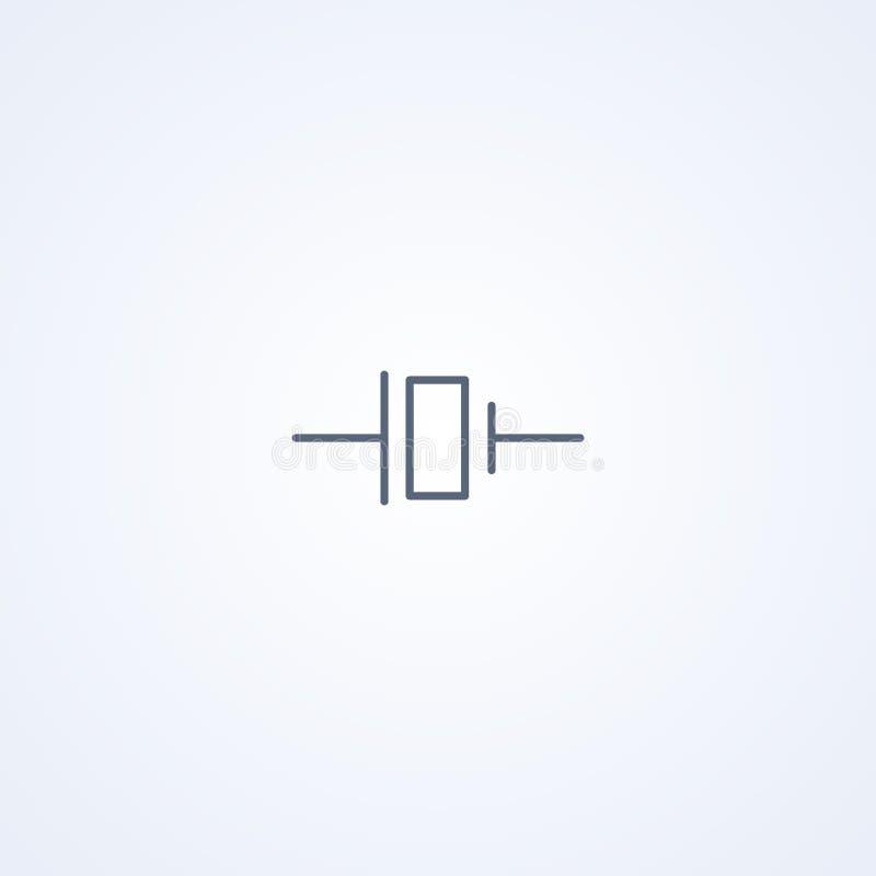 Kristaloscillator, vector beste grijs lijnsymbool vector illustratie