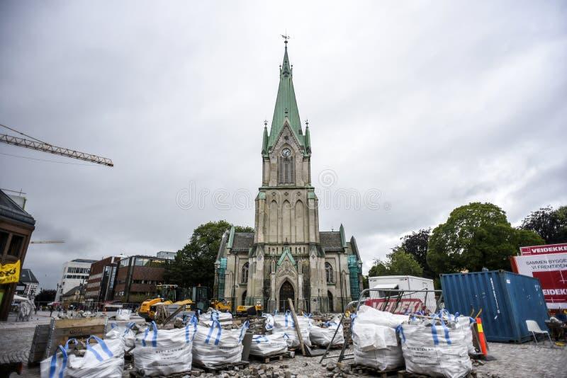 Kristansand, Noruega, o 29 de julho de 2017: Igreja em Kristiansand durante imagem de stock royalty free