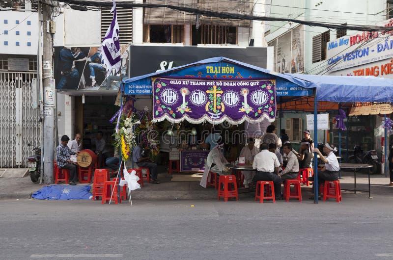 Kristen begravnings- ceremoni i Vietnam fotografering för bildbyråer