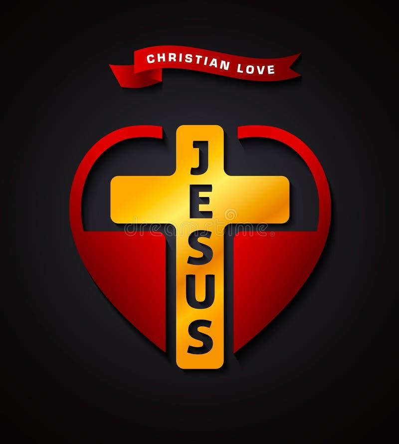 Kristen förälskelse Jesus, idérikt designsymbol royaltyfri illustrationer