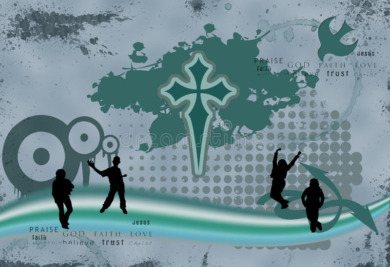 kristen grungeillustration stock illustrationer
