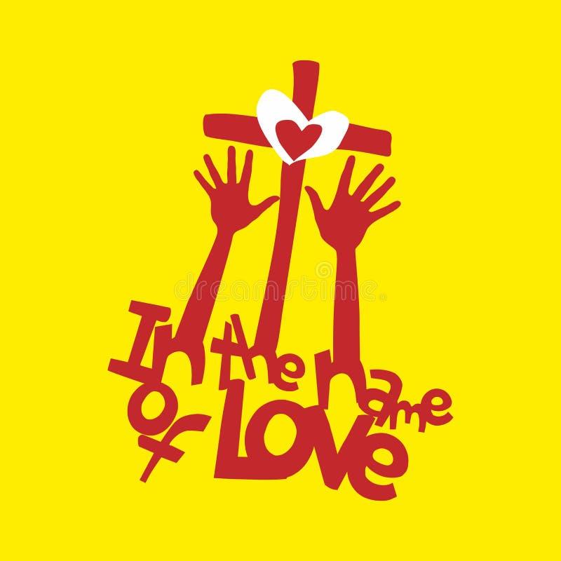 Kristen illustration I namnet av förälskelse stock illustrationer