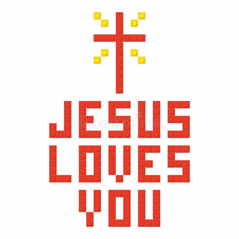 Kristen konst Färgrika gripa in i varandra plast- tegelstenar, plast- konstruktion jesus älskar dig vektor illustrationer