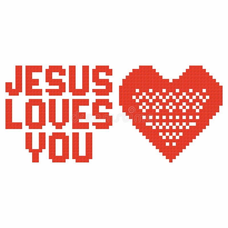 Kristen konst Färgrika gripa in i varandra plast- tegelstenar, plast- konstruktion jesus älskar dig stock illustrationer