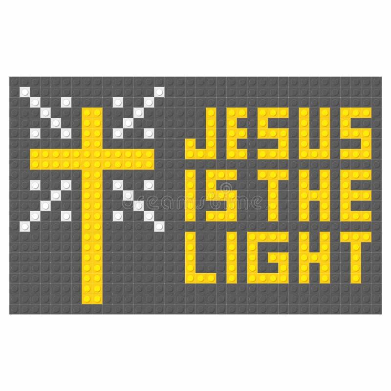 Kristen konst Färgrika gripa in i varandra plast- tegelstenar, plast- konstruktion Jesus är ljuset stock illustrationer